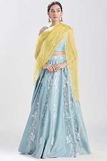 Aqua Blue Embroidered Lehenga Set by Megha Bansal-MEGHA BANSAL