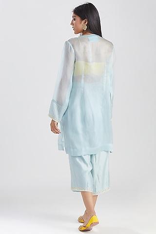 Powder Blue & Yellow Kurta Set by Megha Bansal