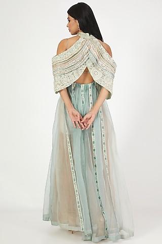 Aqua Blue Embroidered Gown by Megha Bansal