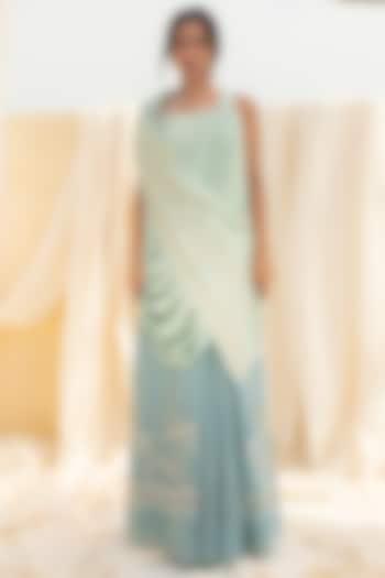 Aqua Blue Embroidered Draped Skirt Set by Megha Bansal