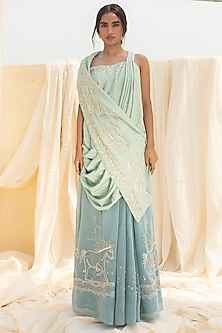 Aqua Blue Embroidered Draped Skirt Set by Megha Bansal