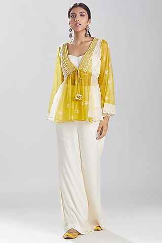 Lime & White Embroidered Pant Set by Megha Bansal