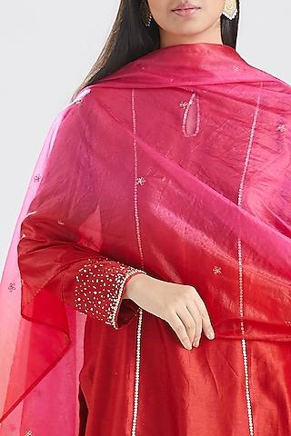 Red Zardosi Embroidered Kurta Set by Megha Bansal