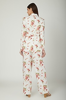 White Printed Blazer With Pants by Mani Bhatia