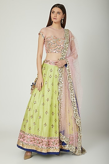Blush Pink & Parrot Green Embroidered Lehenga Set by Mani Bhatia
