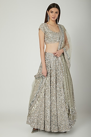 Silver Grey Embroidered Lehenga Set by Mani Bhatia