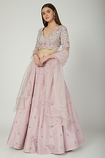 Lilac Embroidered Lehenga Set by Mani Bhatia