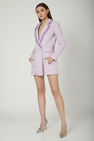 Ice Purple Blazer Romper by Mani Bhatia