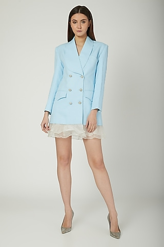 Powder Blue Blazer Dress by Mani Bhatia