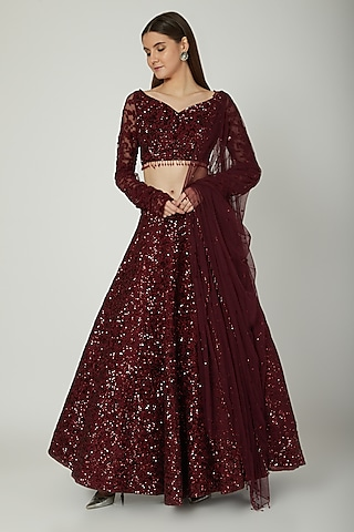Deep Maroon Embroidered Lehenga Set by Mani Bhatia