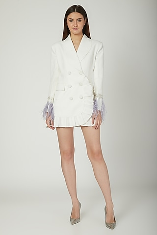 Ivory Modal Crepe Blazer Dress by Mani Bhatia