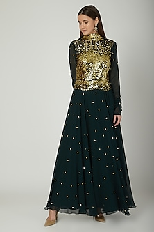 Emerald Green Embroidered Anarkali With Dupatta by Mani Bhatia