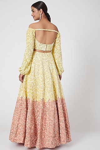 Yellow & Peach Ombre Embroidered Lehenga Set by Mani Bhatia