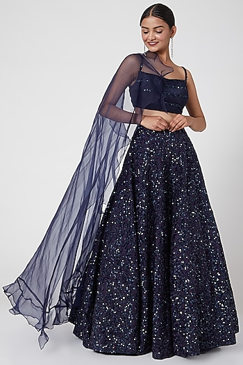 Midnight Blue Embroidered Lehenga Set With Draped Dupatta by Mani Bhatia