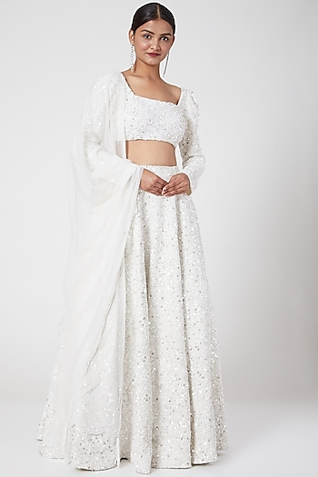 White Embroidered Lehenga Set by Mani Bhatia