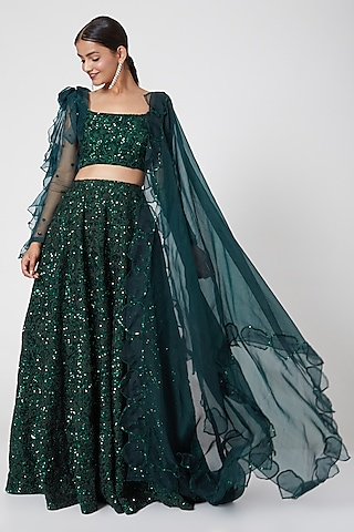 Emerald Green Embroidered Lehenga Set by Mani Bhatia