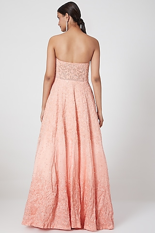 Peach Ombre Embroidered Off Shoulder Gown With Stole by Mani Bhatia