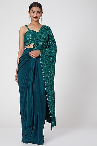 Blue Embroidered Draped Saree Set by Mani Bhatia