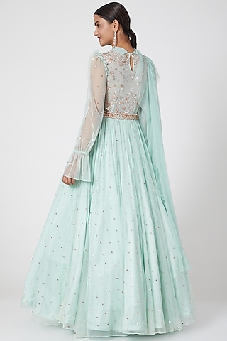 Mint Blue Embroidered Anarkali Set by Mani Bhatia