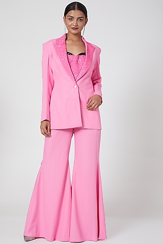 Pink Embroidered Jumpsuit With Blazer by Mani Bhatia
