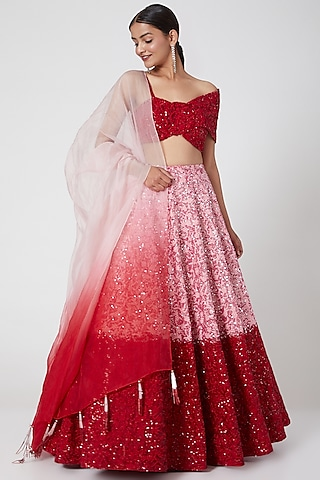 Red & Pink Ombre Embroidered Lehenga Set by Mani Bhatia