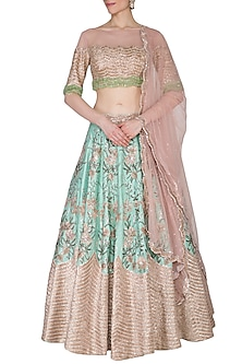 Tea Pink & Ocean Green Embroidered Lehenga Set by Mani Bhatia