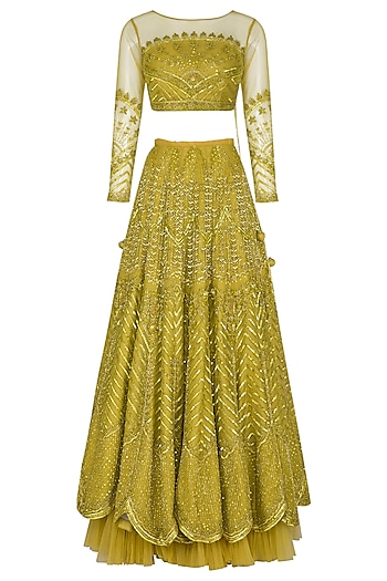 Golden Green Embroidered Lehenga Set by Mani Bhatia