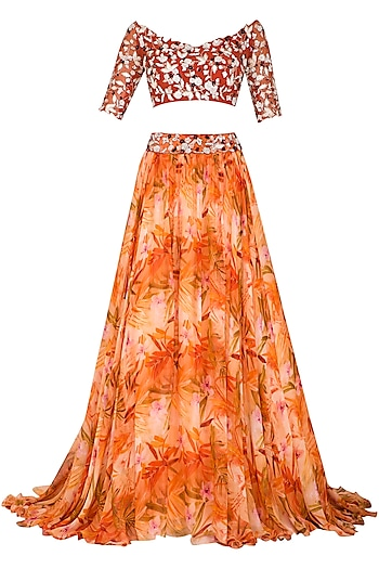 Orange Printed Embroidered Lehenga Set by Mani Bhatia