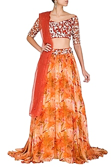 Orange Printed Embroidered Lehenga Set by Mani Bhatia