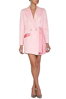 Blush Pink Pearl Blazer Dress by Mani Bhatia
