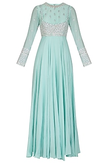 Sky Blue Embroidered Anarkali With Cape by Mani Bhatia