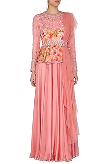 Peach Embroidered Printed Peplum Anarkali With Drape & Belt by Mani Bhatia