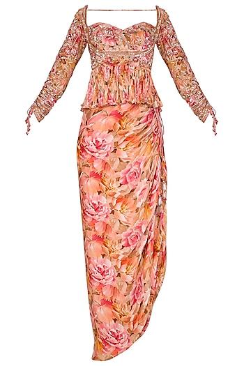 Peach Embroidered Printed Peplum Top With Skirt & Drape by Mani Bhatia