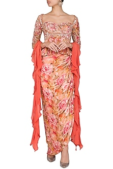 Peach Embroidered Printed Peplum Top With Skirt & Drape by Mani Bhatia