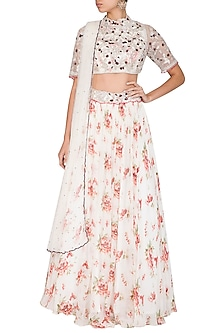 Ivory Printed & Embroidered Lehenga Set by Mani Bhatia