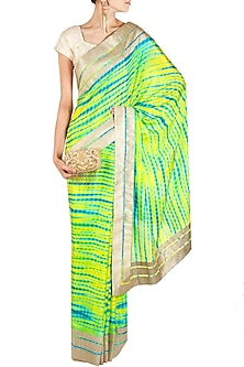 Green and turquoise tie and dye sari by Mandira Bedi