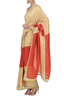 Beige and Red Embroidered Saree with An Unstitched Blouse by Mandira Bedi