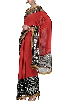 Red and Black Embroidered Saree with An Unstitched Blouse by Mandira Bedi