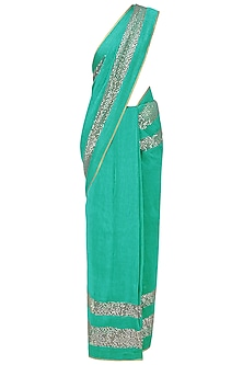 Sea Green and Grey Embroidered Saree with An Unstitched Blouse by Mandira Bedi