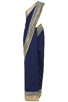 Navy Blue and Grey Embroidered Saree with An Unstitched Blouse by Mandira Bedi