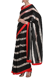 Black, Red and White Embroidered Saree with An Unstitched Blouse by Mandira Bedi