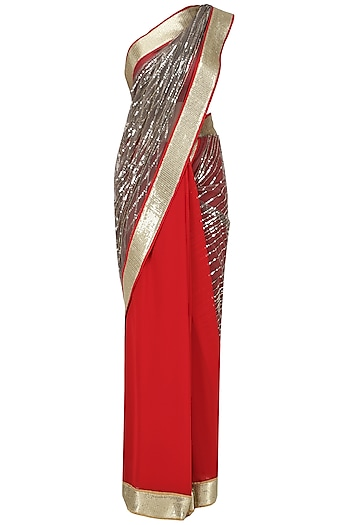 Red and Grey Sequins Embroidered Saree with An Unstitched Blouse by Mandira Bedi