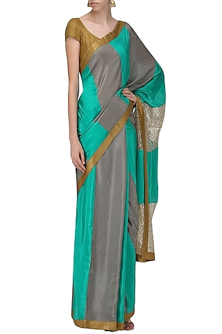 Sea Green and Grey Sequins Embroidered Saree with An Unstitched Blouse by Mandira Bedi