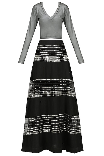 Black Sequins Embellished Lehenga Skirt with Silver Top by Mandira Bedi