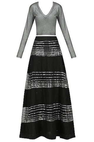 Black Sequins Embellished Lehenga Skirt with Silver Top by Mandira Bedi