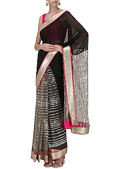 Black and Pink Embroidered Saree with An Unstitched Blouse by Mandira Bedi