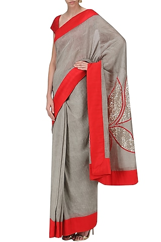 Grey and Red Lotus Motif Embroidered Saree with An Unstitched Blouse by Mandira Bedi