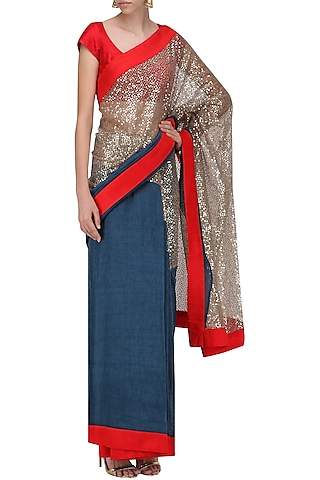 Blue and Red Embroidered Saree with An Unstitched Blouse by Mandira Bedi