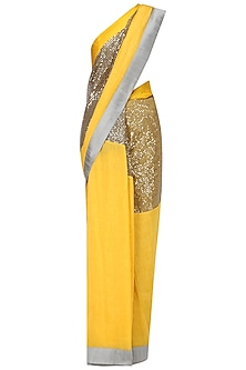 Yellow and Grey Embroidered Saree with An Unstitched Blouse by Mandira Bedi