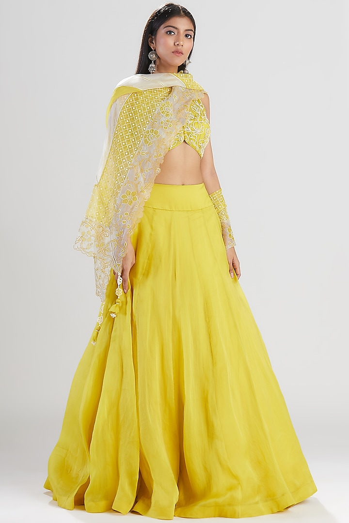 Lime Yellow Embroidered Lehenga Set by Megha Bansal